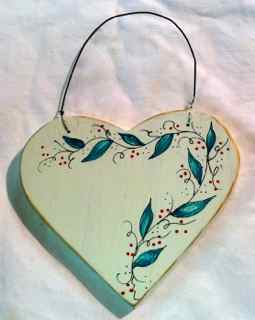 Wood Painted Heart