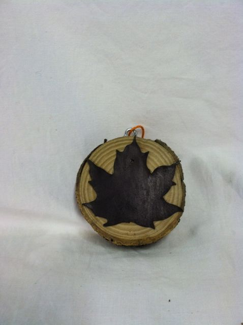 Wood Plaque with Large Metal Leaf