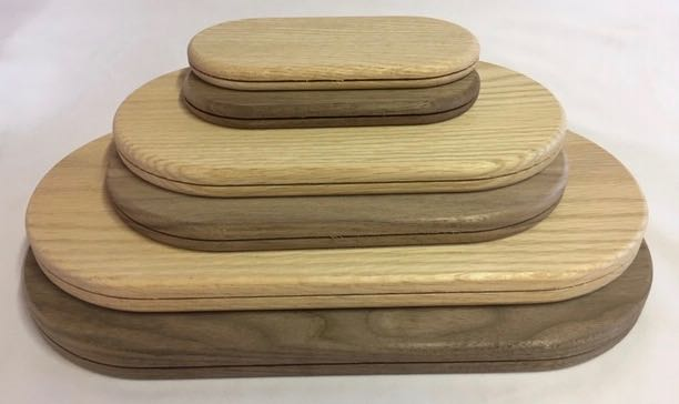 Oval Grooved Walnut Base 3 X 6