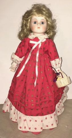 Doll 9 Red Cotton Dress with Apples