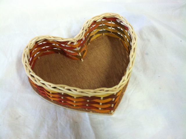 Beginners Heart Basket on Wood Base